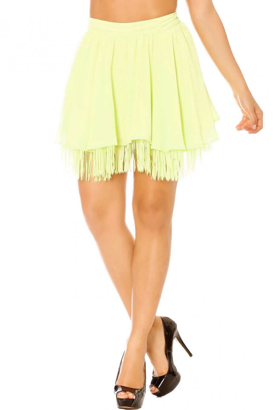 Green flared skirt with fringes. Woman 7792