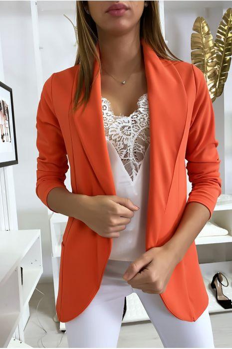 Veste Blazer corail col châle avec poches. Blazer femme 1526