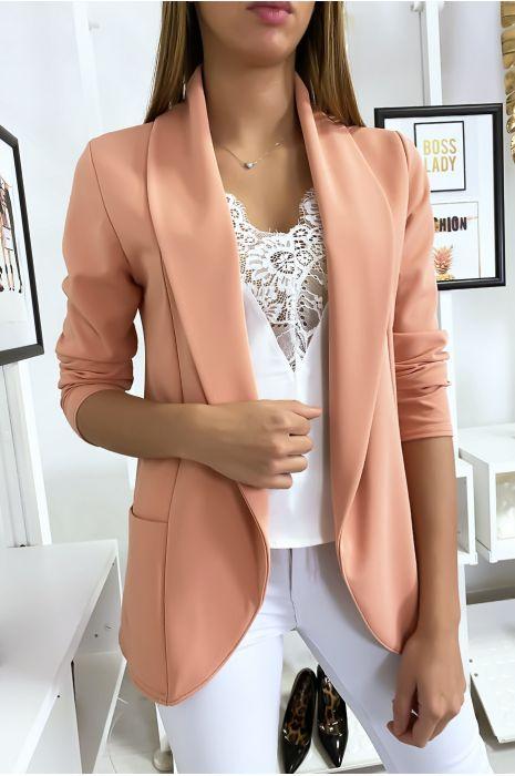 Veste Blazer rose col châle avec poches. Blazer femme 1526