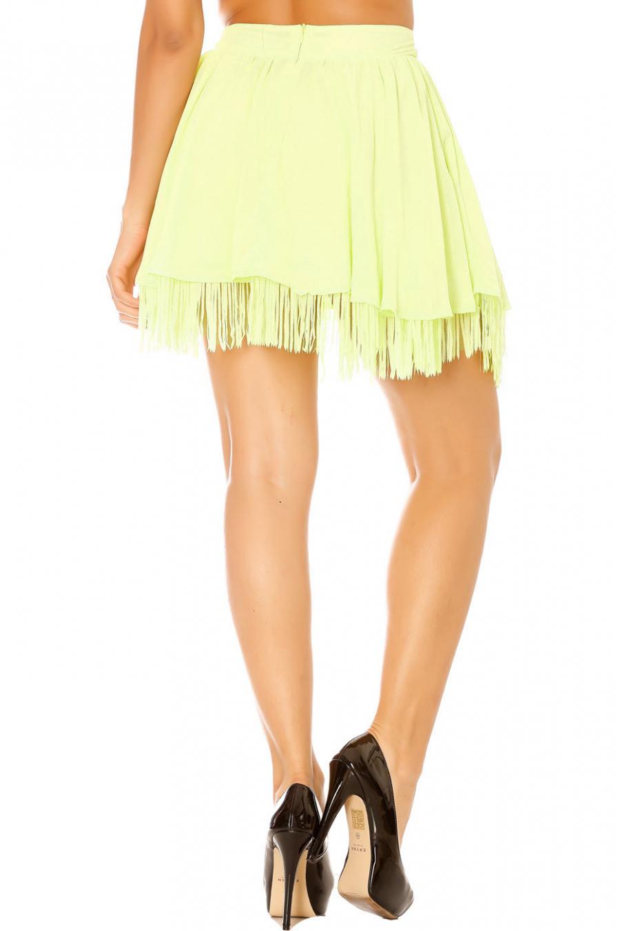 Groene wijd uitlopende rok met franjes. Vrouw 7792