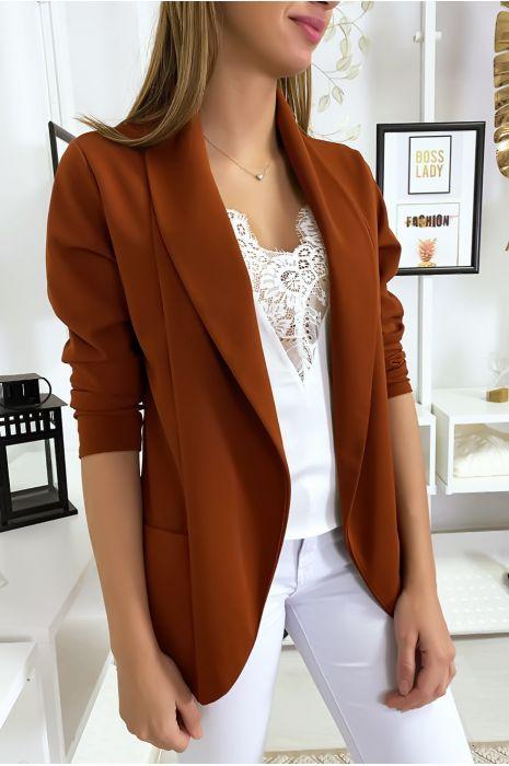 Veste Blazer cognac col châle avec poches. Blazer femme 1526