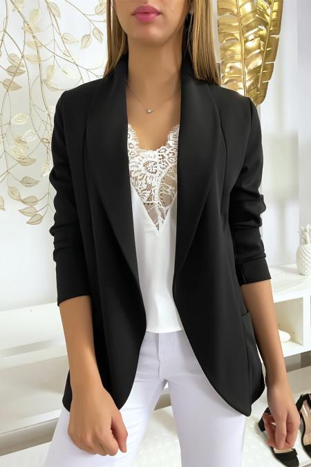 Black blazer jacket with shawl collar with pockets. Women's blazer 1526