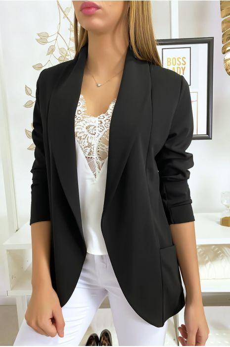 Veste Blazer noir col châle avec poches. Blazer femme 1526