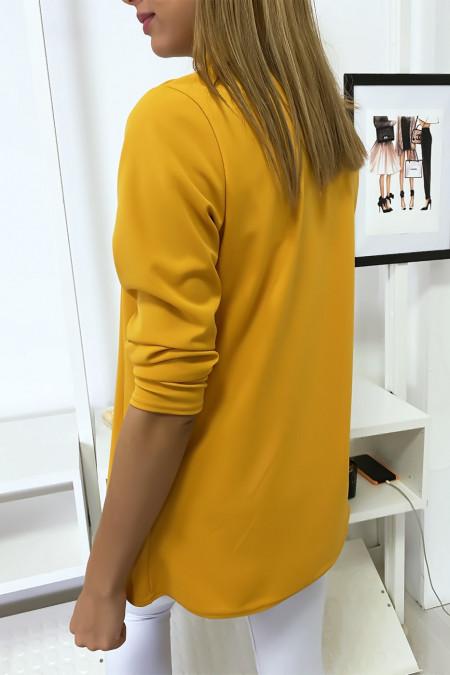 Veste Blazer moutarde col châle avec poches. Blazer femme 1526