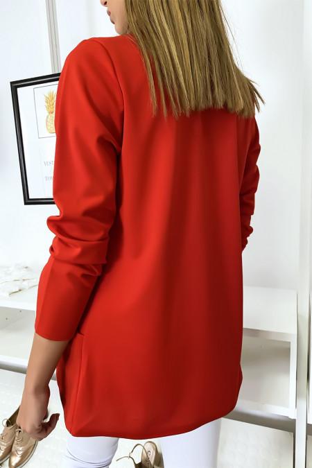 Red blazer jacket with shawl collar with pockets. Women's blazer 1526