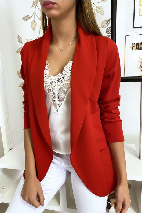 Rood blazerjasje met sjaalkraag met steekzakken. Damesblazer 1526