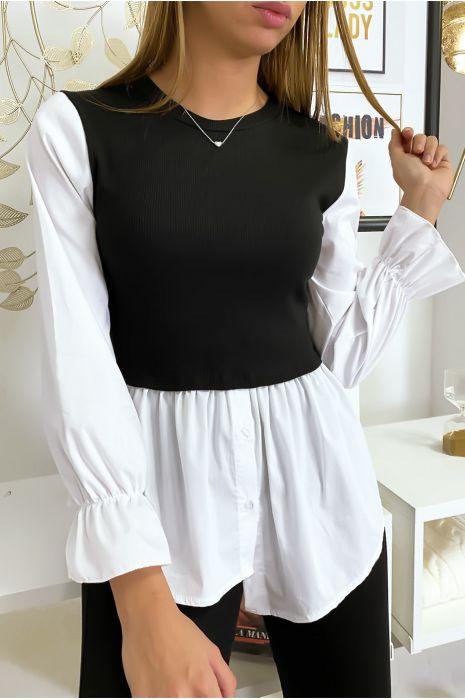 Top chemise 2 en 1 noir