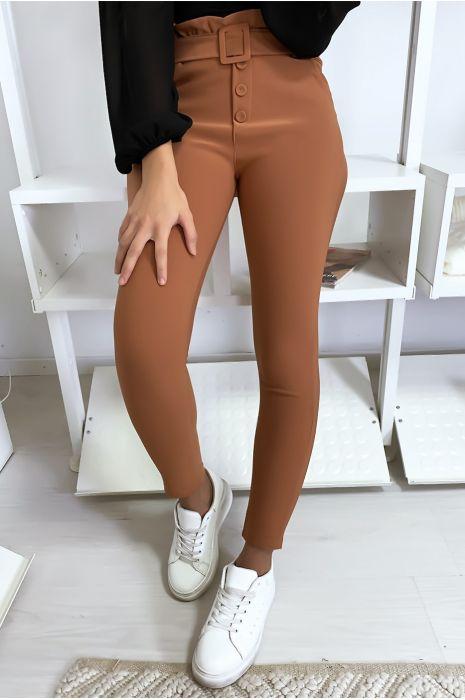 Pantalon slim taille haute avec poche boutons et ceinture