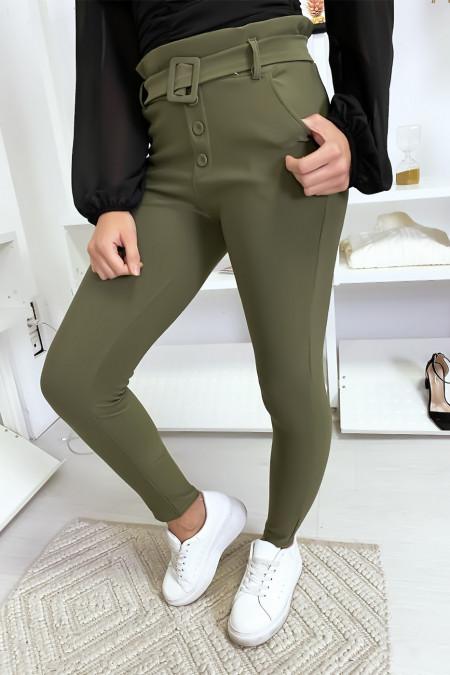 Slim fit broek met hoge taille in kaki met knoopzak en riem