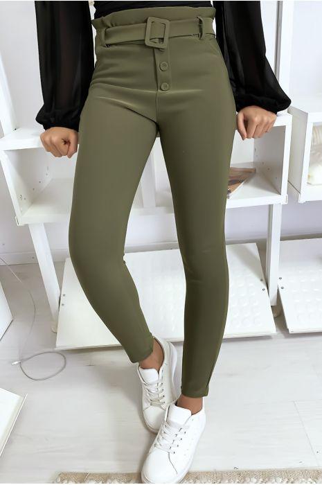 Pantalon slim taille haute en kaki avec poche boutons et ceinture