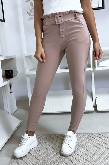 Pantalon slim taille haute en rose avec poche boutons et ceinture