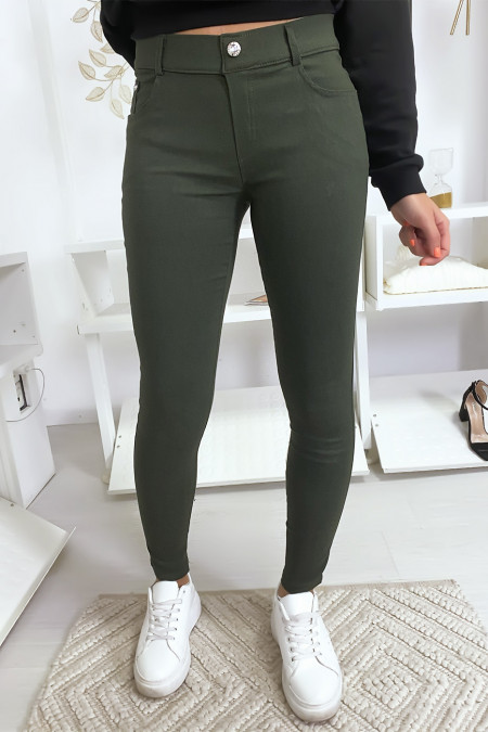 Kaki slimfit broek, basic met voor- en achterzak