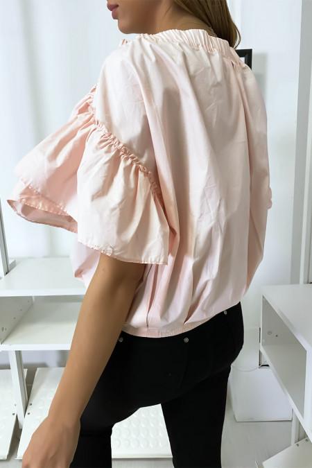 Roze overhemdblouse met knopen aan de voorkant met ruches aan de mouwen en geplooid bij de schouders