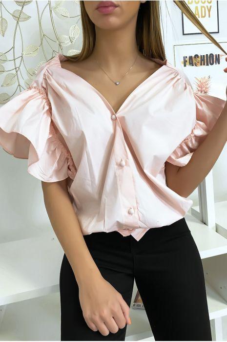 Blouse chemise rose boutonnés à l'avant  avec volant aux manches et fronce aux épaules