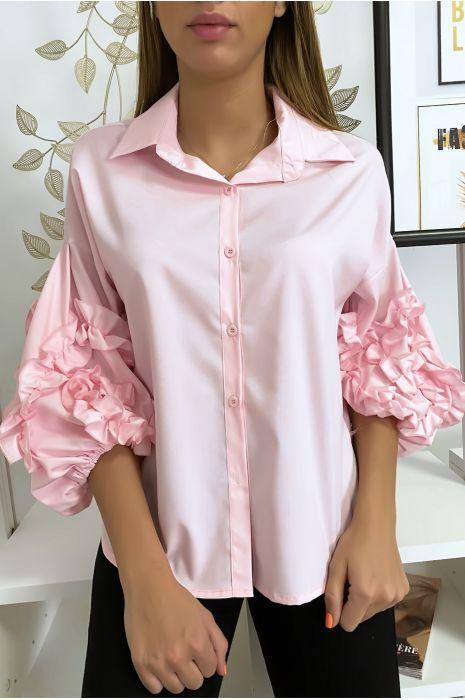 Roze overhemd met losse mouwen met ruches