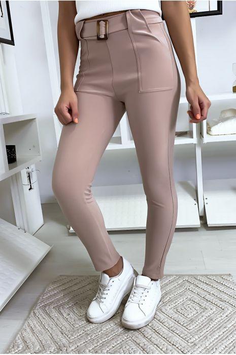 Pantalon slim rose avec poche et ceinture