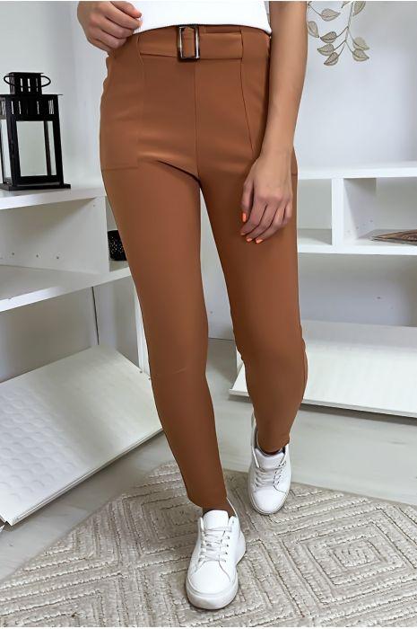 Cognac slimfit broek met zak en riem