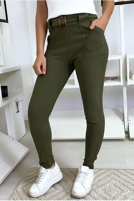Pantalon slim kaki avec poche et ceinture