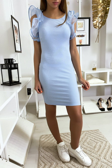 Blue ribbed knit dress with ruffles and butterfly on the shoulders