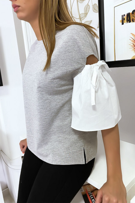 Gray bi-material top with bare puffed sleeve