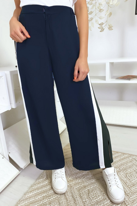 Navy palazzo pants with black / green bands
