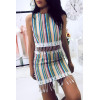 Striped skirt with Aztec patterns. Woman 6105