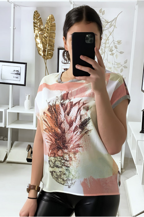 Roze blouse met ananaspatroon en strass steentjes