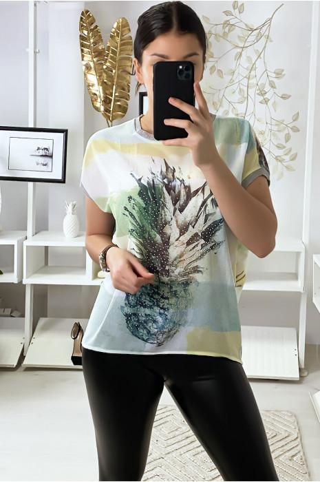Blouse vert avec motif ananas et strass