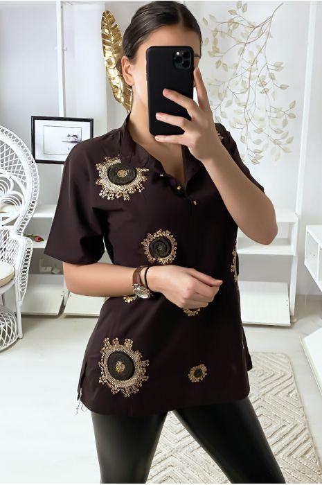 Tunique marron col chemise avec strass et broderie devant