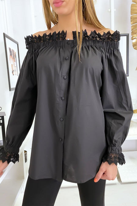Black button-up boat neck blouse with lace