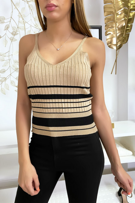 Very stretchy beige mesh tank top with stripe. M1875