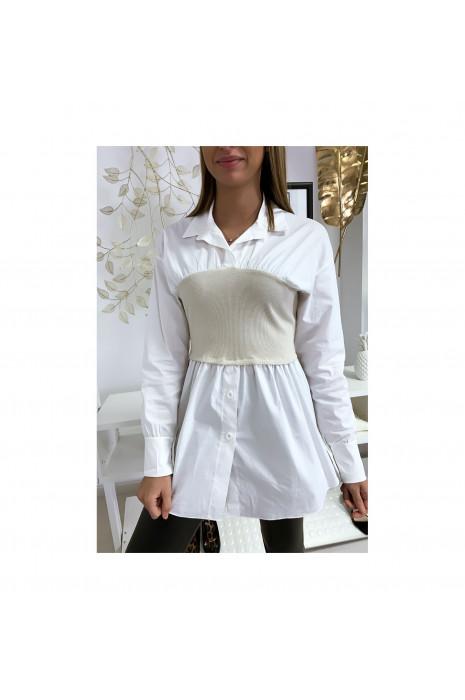 Ensemble chemise blanche et corset beige