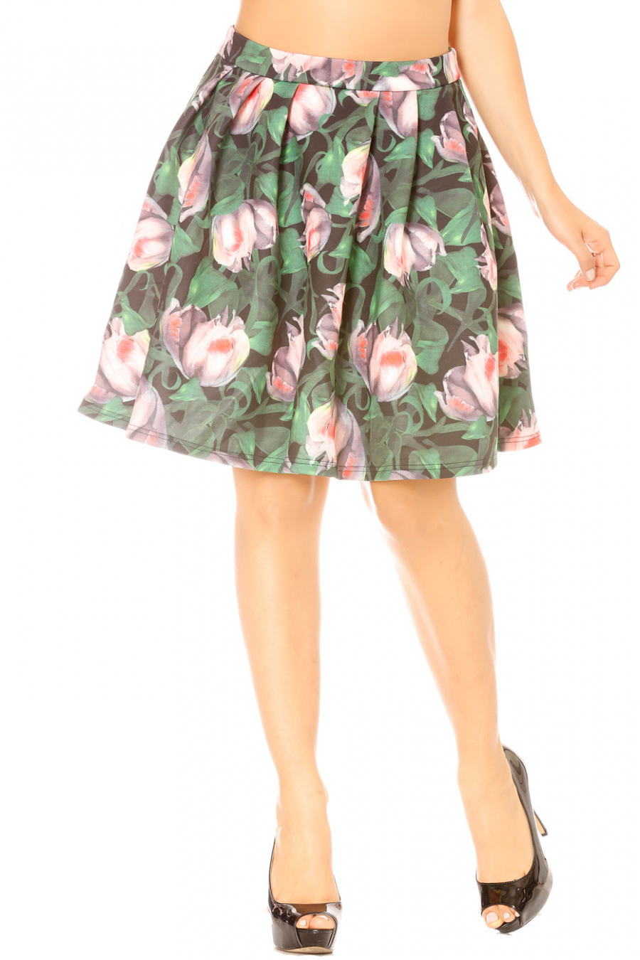 Flared black pleated skirt. Woman F128