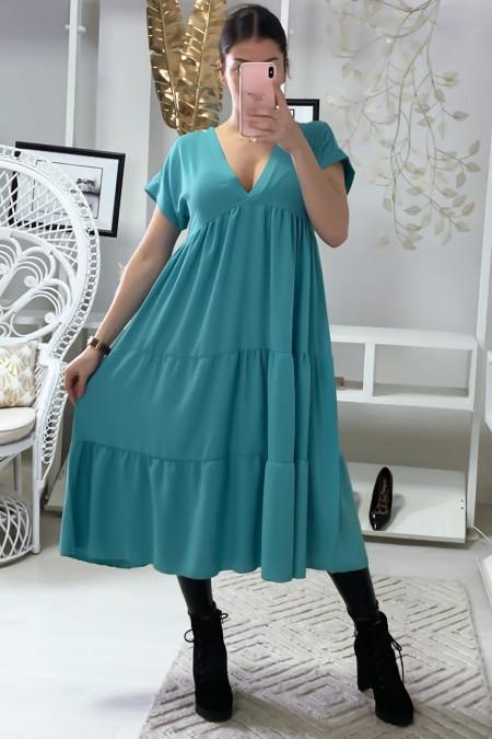 Longue robe tunique col V à volant en turquoise
