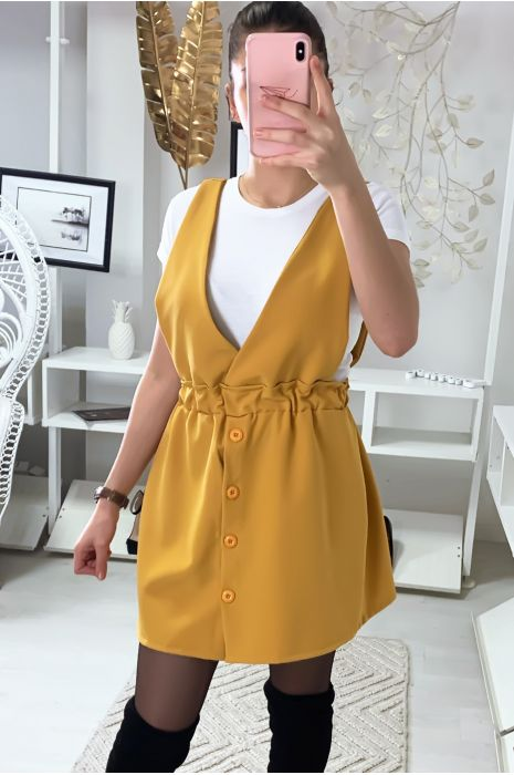 Jolie robe chasuble moutarde