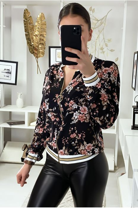 Petite veste fluide noir motif fleuris