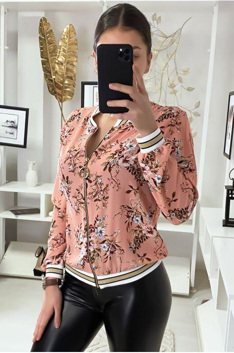 Petite veste fluide rose motif fleuris