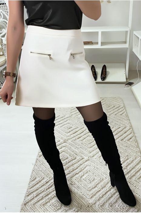 Mini jupe trapèze en blanche avec zip