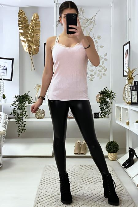Débardeur rose côtelé avec dentelle au buste et au dos