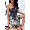 Belle robe dos nu beige et noire avec imprimés tigres. Modes et tendances. F1230