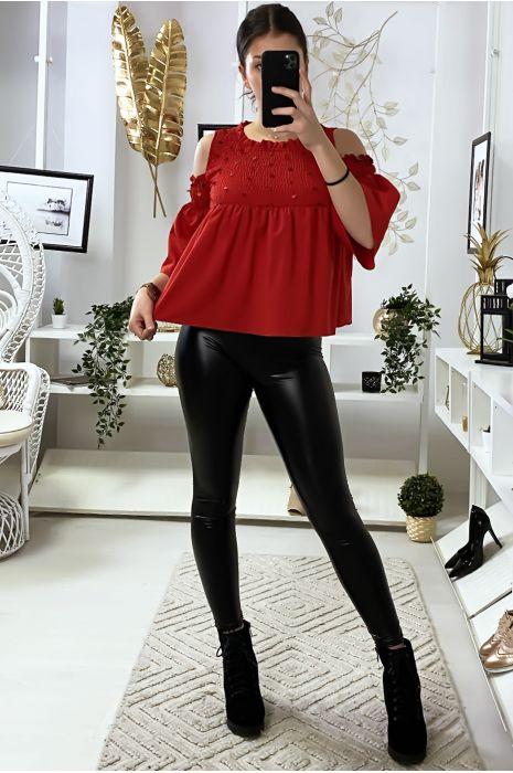 Rode blouse donkere blote schouders voorkant met pailletten