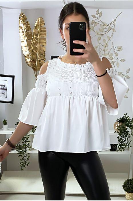 Witte blouse donkere blote schouders voorkant met pailletten