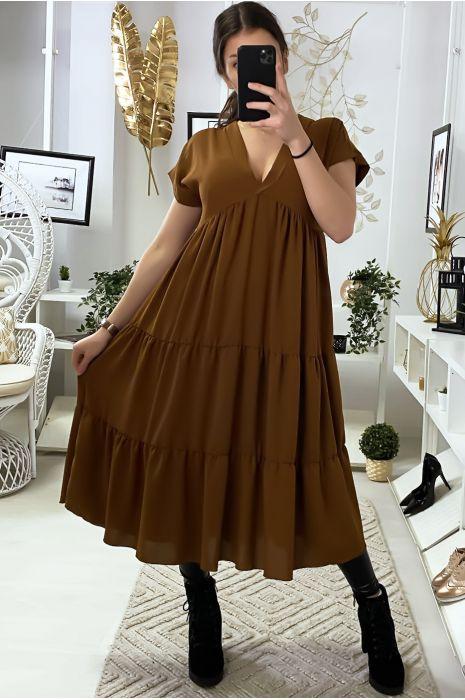 Longue robe tunique col V à volant en cognac