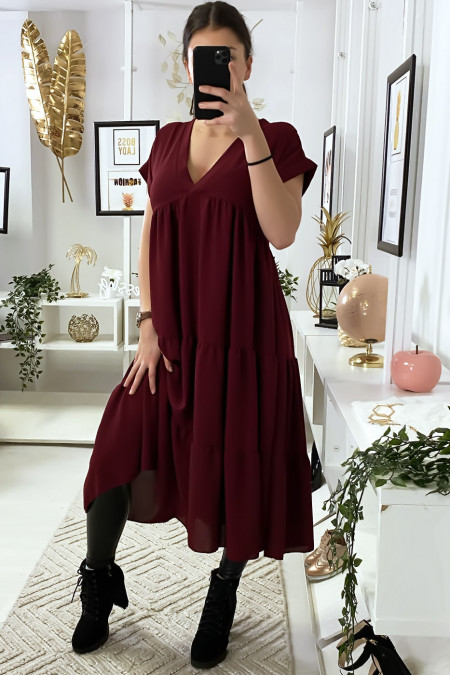 Long v-neck tunic dress with ruffle in burgundy