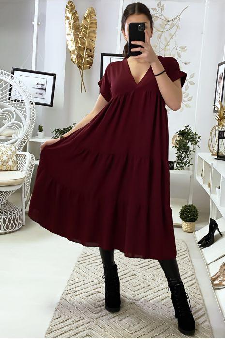 Longue robe tunique col V à volant en bordeaux
