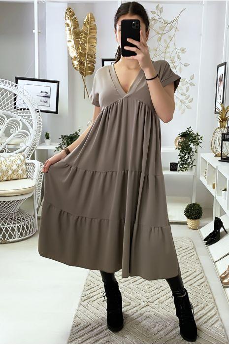 Longue robe tunique col V à volant en taupe
