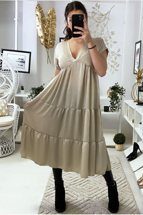 Longue robe tunique col V à volant en beige