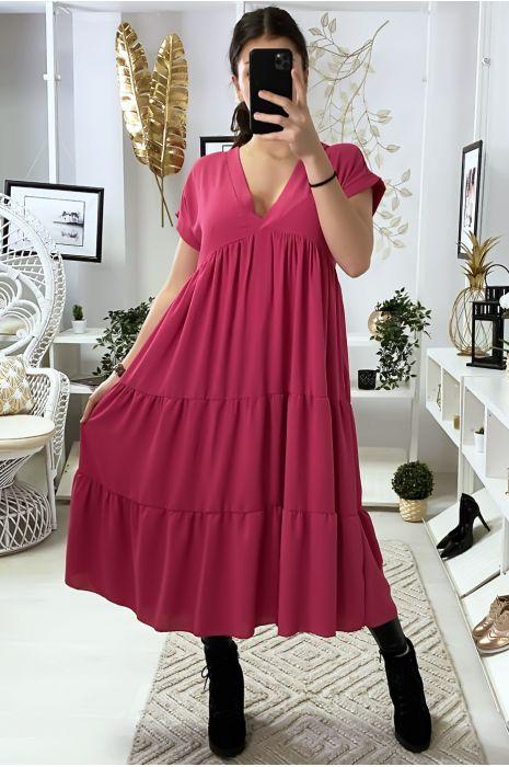 Longue robe tunique col V à volant en fuchsia