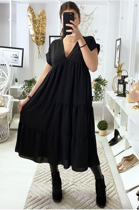 Longue robe tunique col V à volant en noir