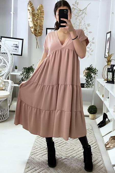 Longue robe tunique col V à volant en rose